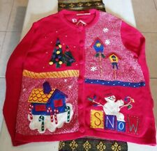 Vintage Ugly Christmas Sweater Bobbie Brooks Button Cardigan Unisex XL Red