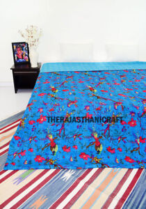 Hand Block Print Twin Cotton Kantha Quilt Throw Blanket Bedspread Single Gudari