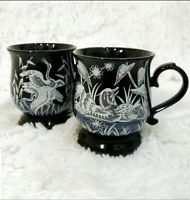 Set of 2 Vintage Otagiri Japanese Pheasant / Duck Wild Hunter Coffee Mugs