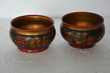 2 Pc Old Wooden Handcrafted Floral Design Dry Fruit Bowl, Collectible.