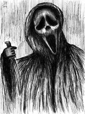 "Scream Ghostface 8.5"" x 11"" ink drawing horror halloween"