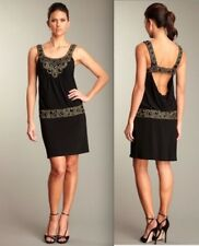 $409 Sue Wong Open Back Beaded Blouson Black Jersey Cocktail Dress 12