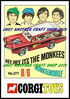 Corgi Toys 277 The Monkees 1968 A4 Size Poster Advert Shop Display Sign Leaflet