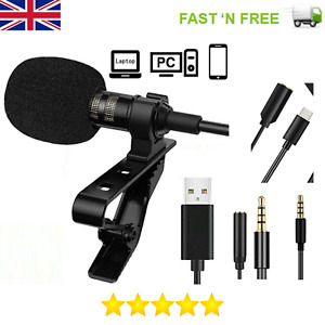 Pro Lavalier Lapel Mini Stereo Microphone Clip Condenser iPhone Android Samsung!