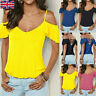 Womens Cold Shoulder Ruffle Backless T-Shirt Lady Summer Casual Beach Top Blouse
