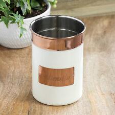 17cm Large Cream & Copper Kitchen Utensil Caddy Holder Jar Cutlery Pot Storage