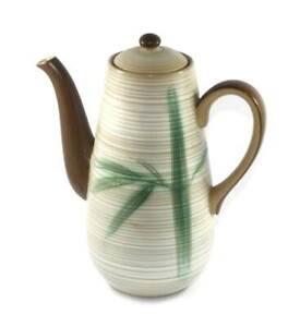 Vintage KASUGA Showa Japan mid century modern stoneware coffee pot