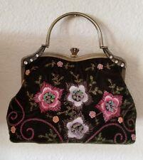 VTG Vendula London Womens Evening Bag Embroidery Beads Green Velvet Boho Gypsy