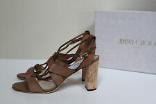 New sz 9 / 39 Jimmy Choo Margo Ghillie Lace Brown Leather Ankle Sandal Shoes