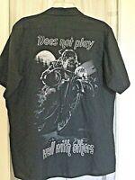 Mens Harley Sturgis VINTAGE Large Button Shirt Graphic Bulldog Biker cigar moon