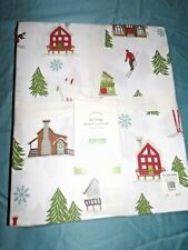 "POTTERY BARN SKI LODGE PRINT FABRIC SHOWER CURTAIN, 72"", NEW, HOLIDAY"