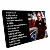 """Print on Canvas Winston Churchill We shall never surrender quote Wall 30""""x20"""""""