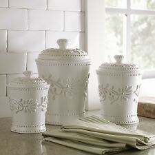 Kitchen Canister Set Ceramic White Dry Food Storage Containers Flour Sugar
