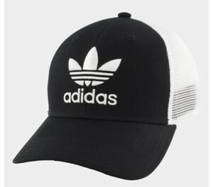 Adidas  Originals Icon Mens Trucker Hat Black White Mesh Snapback Cap Adjustable