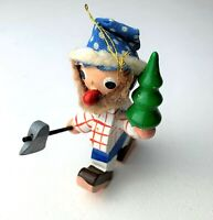 VINTAGE WOODEN HAND PAINTED CHRISTMAS ORNAMENT Bearded MAN with AXE