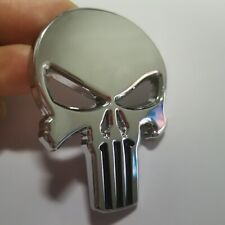 2 Pc Metal Silver 3D Skull Head Emblem Badge Car Seat Backrest Sticker Fuel tank