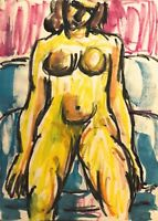 PINIAT 1925-2017 NEW YORK CITY ABSTRACT MODERNIST NUDE FIGURE STUDY PAINTING
