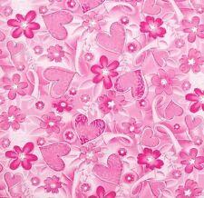 Ribbon Pink Herzen Blumen Patchworkstoff Patchwork Stoff Baumwollstoff Meterware