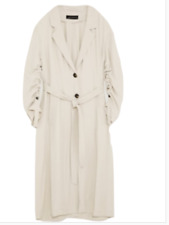 💕 ZARA RARE TRENCH COAT WITH GATHERED SLEEVES BNWT M LIGHT GREY