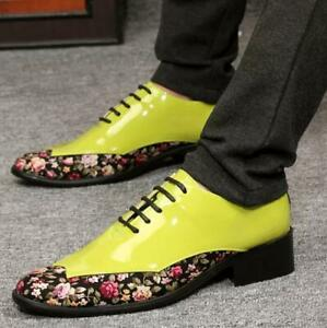 Men's Casual Floral Lace Up Round Toe Wig Tip Club Shoes Dress Formal Shoes New