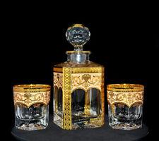 Karaffe & 2 Gläser, Bohemia, Handarbeit, Handbemalt, Farbe Elfenbein/Gold, Neu