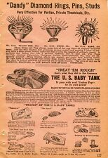 1922 small Print Ad of The Us Baby Tank & Dandy Diamond Rings Scarf Pins Studs