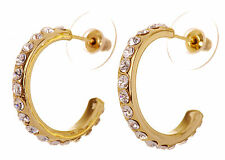 Swarovski Elements Crystal Palace Hoop Pierced Earrings Gold Authentic New 7240z