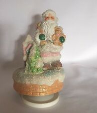 MUSICAL PINK SANTA CLAUS CHRISTMAS Shabby Chic GLITTER HOUSE Rotating Music Box