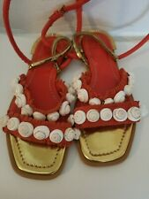 Tory Burch Sinclair Seashell Size 7 Ankle-wrap Red+gold Lther Sandal