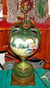 Antique Sevres Limoges Hand Painted Lamp Ballerina Ballet Dancers Signed Marian