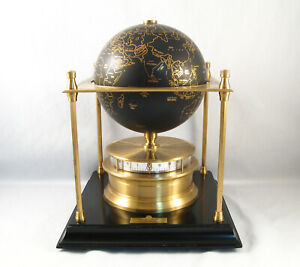 1988 FRANKLIN MINT ROYAL GEOGRAPHICAL SOCIETY WORLD CLOCK     WORKS