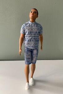 Barbie Ken Fashionistas Doll #13 Man Bun Distressed Denim Clothes 2016