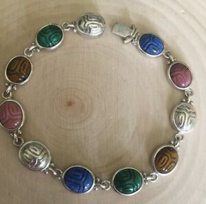 sterling silver WK carved gemstone scarab bracelet box/tongue closure EUC 7.5 in