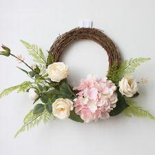 Rustic Rattan Silk Rose Hydrangea Flower Wreath Door Wall Home Wedding Decor