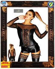 Schwarzes Wetlook Shirt F130 Noir Handmade Diva Schnürung Übergröße Swinger GoGo