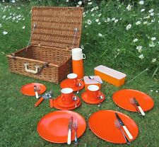 Vintage retro Gaydon Encore orange plastic picnic ware wicker hamper basket