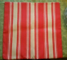 """RESTORATION HARDWARE OUTDOOR PILLOW COVER RED TAN AWNING STRIPE 20"""" SQ. NWOT (18"""