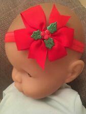 Baby Girl Christmas Holly Red Bow Headband Hairband Hair Accessory