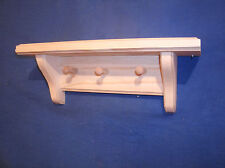 """rustic country pine wooden shelf with 3 pegs, 12"""" unfinished wall shelf"""