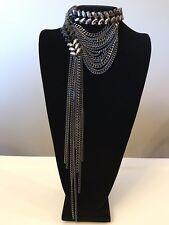 NWT WHITE HOUSE BLACK MARKET Hematite Black Chain Statement Necklace