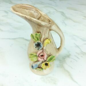 Capodimonte Minature Porcelain Bisque Floral Pitcher Flowers Made in Italy Mini
