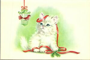 Rust Craft Kitty Cat Kitten Unused Birdcage Bird VTG Christmas Greeting Card