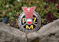 VINTAGE ENAMEL AUTOMOBILE CAR CLUB BADGE # PZM ZWIAZEK MOTOROWY POLSKI POLAND