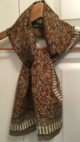 Vintage Elaine Gold For Collection XIIX Rectangular Scarf Silk Gold Floral EUC!