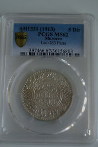 MOROCCO 5 DIRHAMS SILVER AH 1331/1913 PARIS PCGS MS 62 very RARE  coin cote 500$