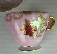 RARE Ucagco China Japan Tea Cup & Saucer Vintage Pinks Yellow Gold Trim Footed