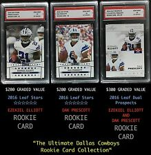 $700 EZEKIEL ELLIOTT & DAK PRESCOTT 2016 LEAF DUAL ROOKIE CARD LOT 1ST GRADED 10