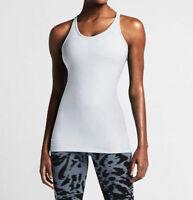 New NIKE Get Fit Women's Training Running Tank Top Shirt White 643345-100 Large