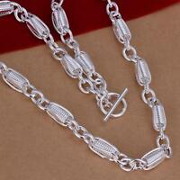 ASAMO Damen Halskette mit Steg Verschluss 925 Sterling Silber plattiert HA1244