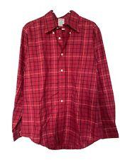 bonobos plaid tartan slim fit oxford red button-down shirt sz Medium